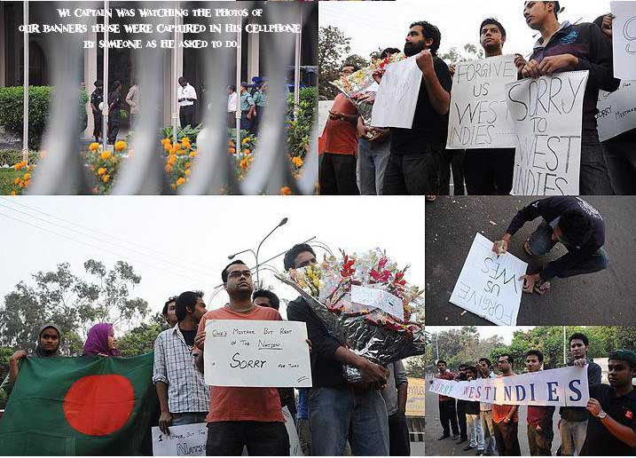 Bangladeshi fans says sorry to west indies team with bannars, flowers ...