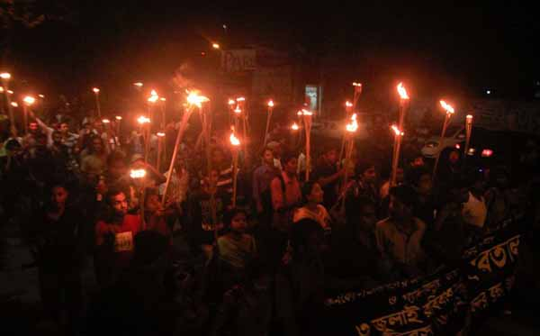Bloggers at Shahbag against gas exporting agreement with ConocoPhillips