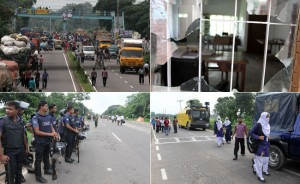 dhaka-aricha road blocked by the students